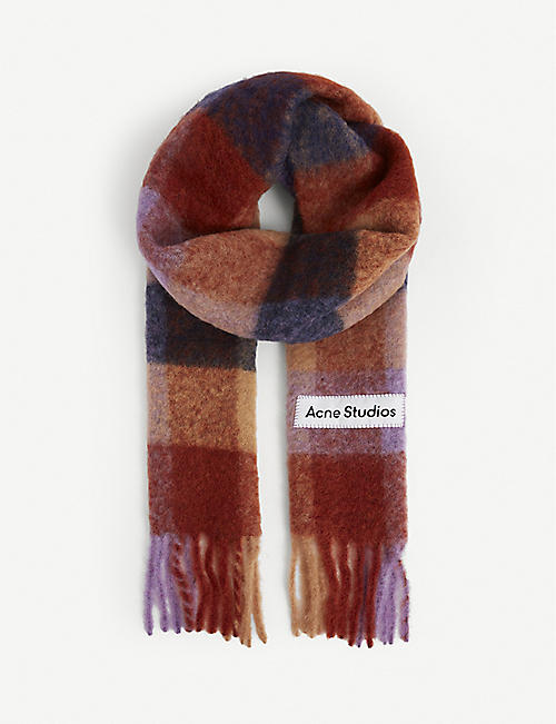 ACNE STUDIOS: Vally checked wool-blend scarf