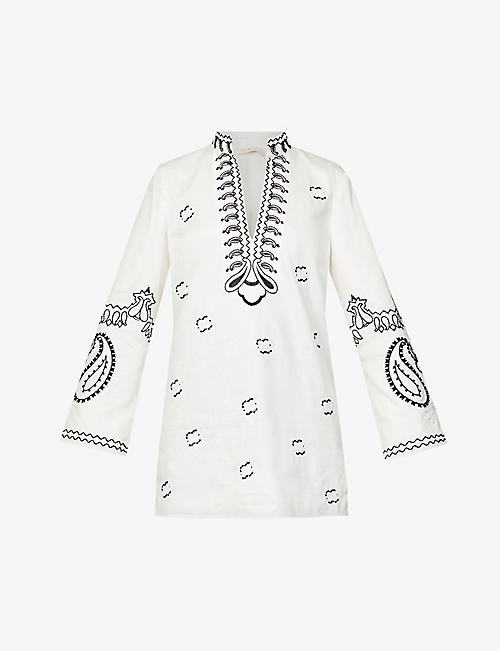 TORY BURCH: Embroidered-print relaxed-fit cotton beach dress