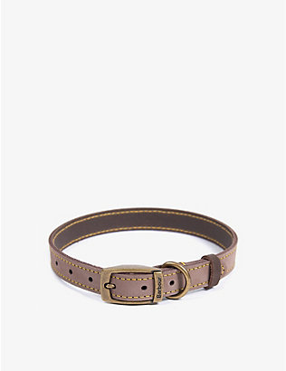 BARBOUR: Leather and brass dog collar