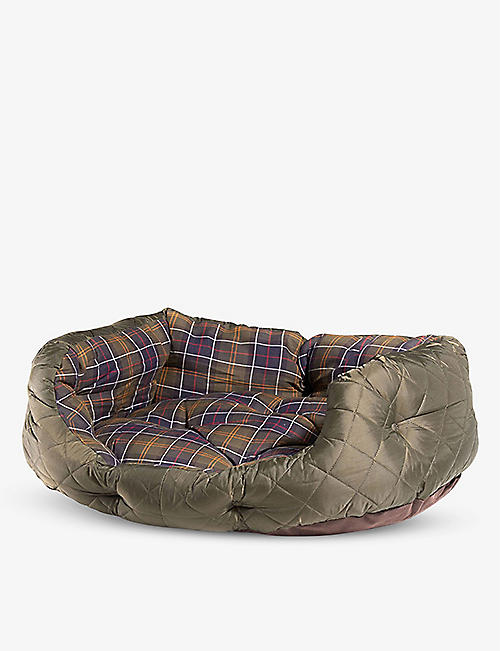 BARBOUR: Quilted checked cotton and shell dog bed