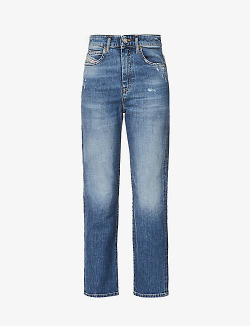 DIESEL: Eiselle tapered high-rise stretch-denim jeans