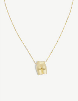 ANISSA KERMICHE: Le Derrière 18ct sanded yellow gold-plated sterling silver pendant necklace