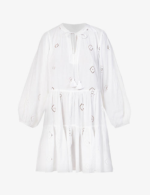 SEAFOLLY: Broderie anglaise cotton mini dress