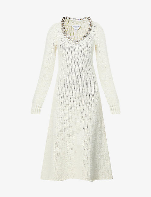 BOTTEGA VENETA: Chain-embellished wool-blend midi dress
