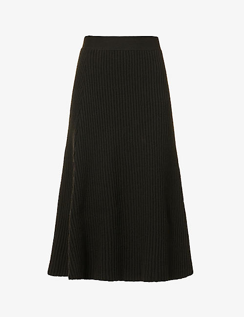 BOTTEGA VENETA: Ribbed wool-blend midi skirt