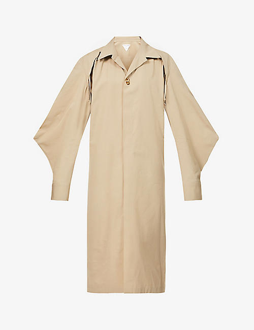 BOTTEGA VENETA: Lace-up cotton-blend shirt maxi dress