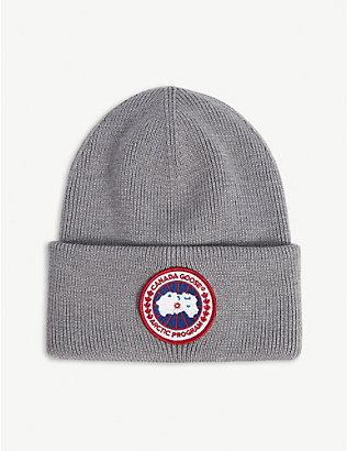 CANADA GOOSE: Logo-patch merino wool beanie hat