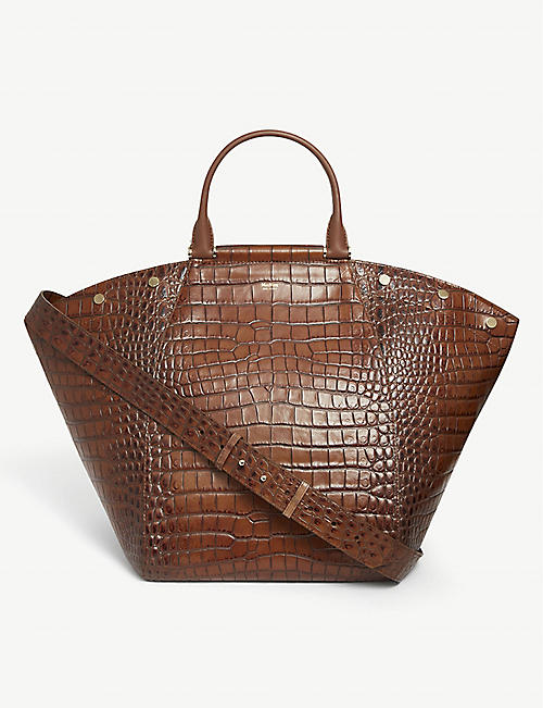 MAX MARA: Anita croc-embossed leather tote bag