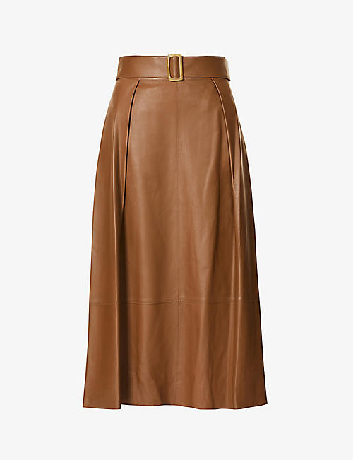 VINCE: Belted high-waist leather midi skirt