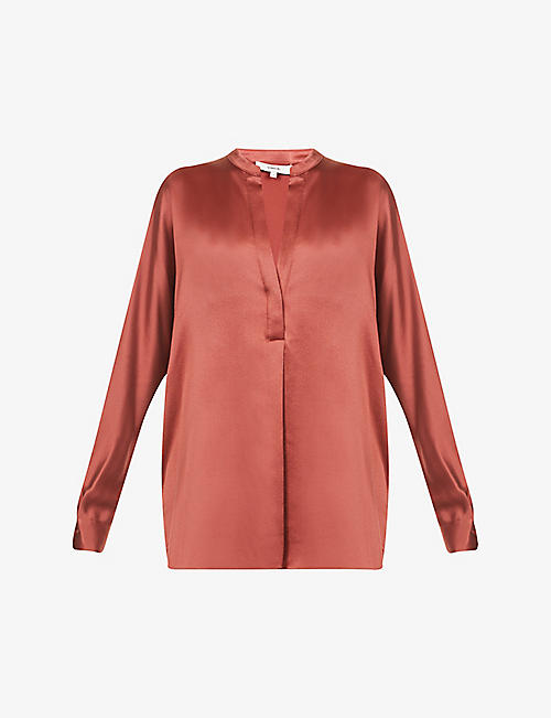 VINCE: Band collar silk shirt