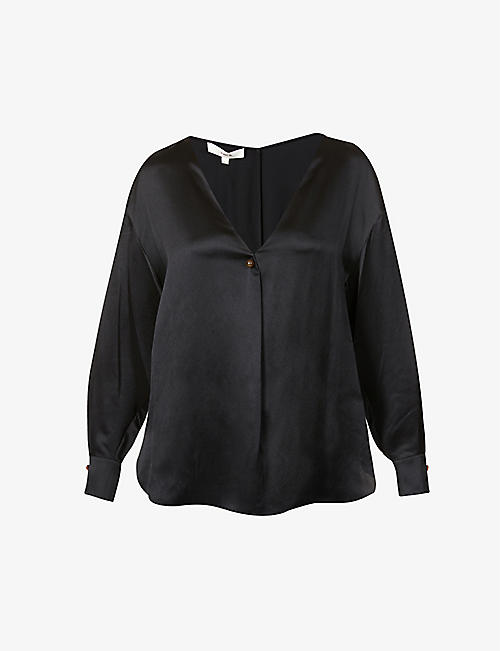 VINCE: V-neck silk-satin blouse