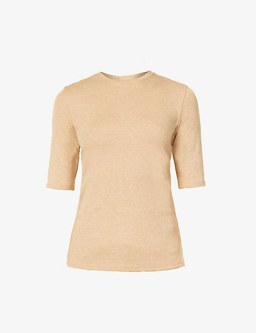 VINCE: Marl-print cotton and modal-blend T-shirt