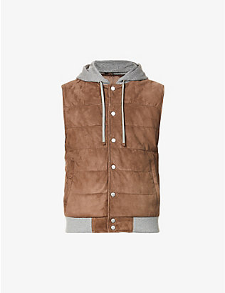 ELEVENTY: Hooded quilted suede gilet