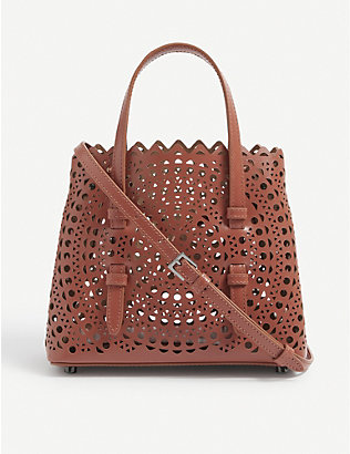 AZZEDINE ALAIA: Mina laser-cut leather bag