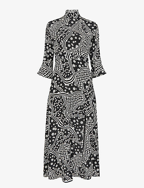 CLAUDIE PIERLOT: Rasa graphic-print crepe midi dress