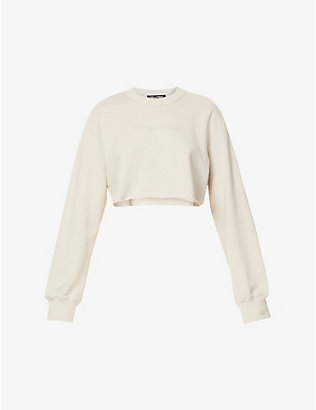 CAMILLA AND MARC: Josef logo-embossed cropped cotton-jersey jumper