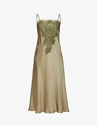 NK IMODE: Dovima Deluxe flora-embroidered silk night dress