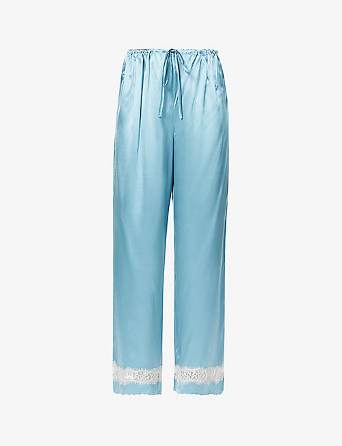 NK IMODE: Poppy Retro mid-rise silk-satin and lace trousers
