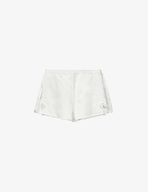 NK IMODE: Anoushka Frenzy silk-satin and lace shorts