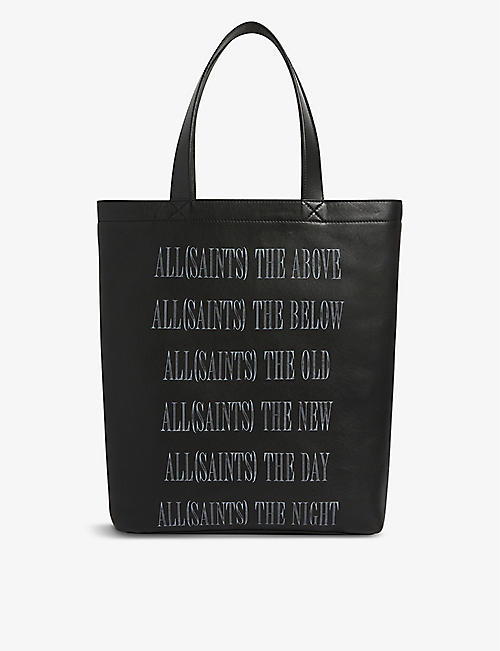 ALLSAINTS: Stamp logo leather tote bag