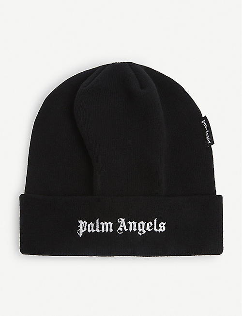 PALM ANGELS: Logo-embroidered wool beanie hat
