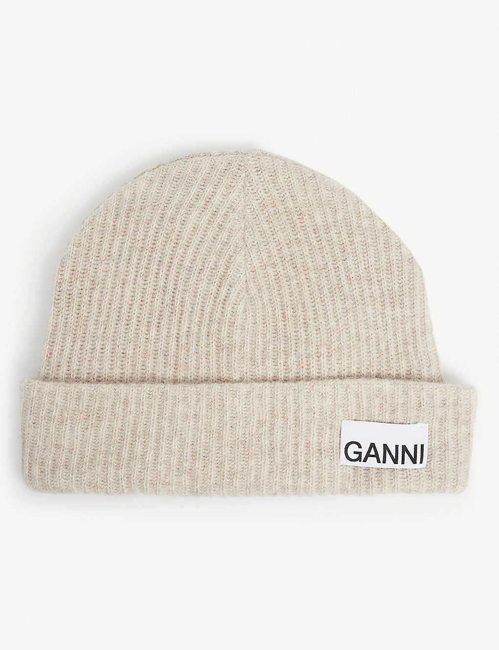 GANNI: Logo recycled wool-blend beanie hat