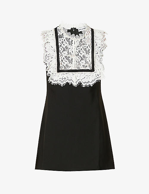 SELF-PORTRAIT: Crystal-embellished lace and crepe mini dress