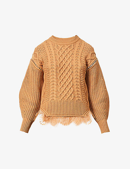 SELF-PORTRAIT: Cara lace-trim cable-knit cotton and wool-blend jumper
