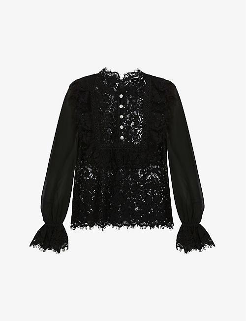 SELF-PORTRAIT: High-neck semi-sheer lace top