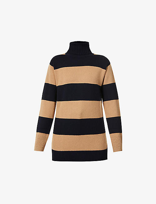 MAX MARA: Nastro stripe turtleneck wool and cashmere-blend jumper