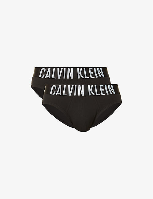 CALVIN KLEIN: Pack of two brand-print stretch-cotton briefs