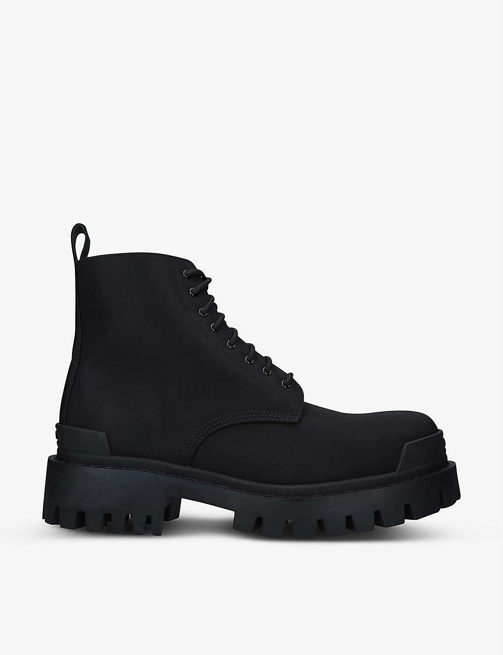 BALENCIAGA: Strike lace-up woven ankle boots