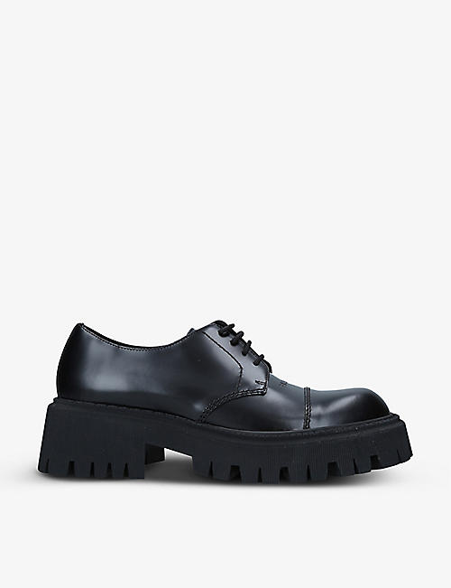 BALENCIAGA: Tractor branded leather Derby shoes