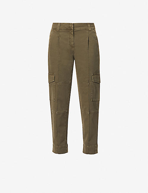 ME AND EM: Mid-rise tapered leg stretch-cotton cargo trousers
