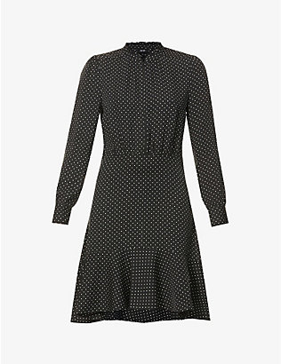 ME AND EM: Polka-dot silk-crepe mini dress