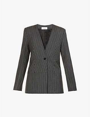 VESTURE: Striped wool jacket