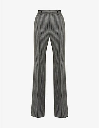 VESTURE: Pinstriped high-rise wool trousers