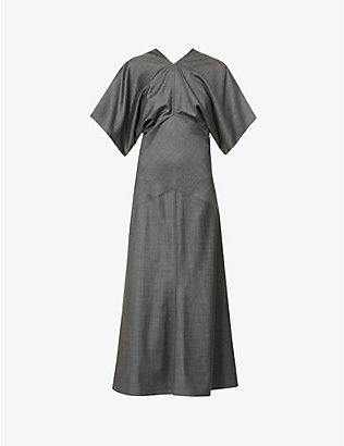 VESTURE: Draped wool maxi dress