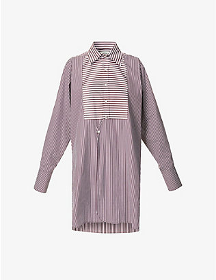 VESTURE: Striped oversized cotton-poplin shirt