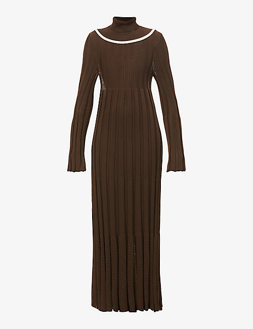 VESTURE: Detachable-turtleneck ribbed knitted midi dress
