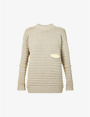 VESTURE: Contrast-pocket stretch-cotton knitted jumper