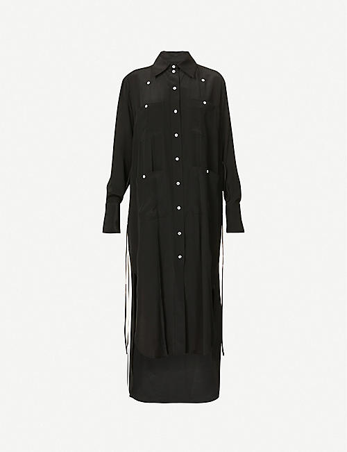 VESTURE: Split-side silk-crepe shirt maxi dress