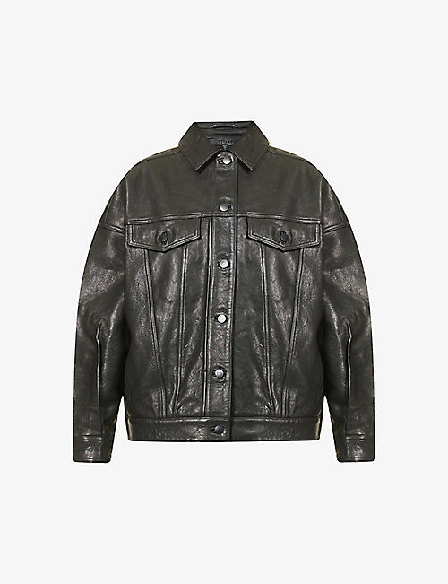J BRAND: Drew regular-fit leather jacket