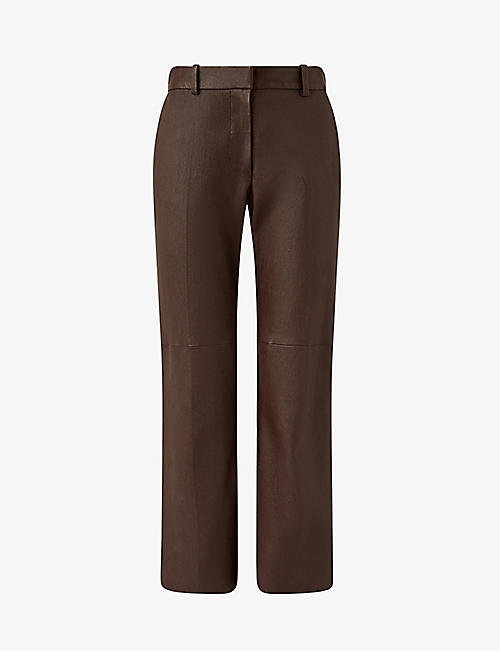 JOSEPH: Coleman straight high-rise leather trousers
