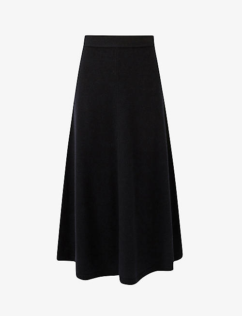 JOSEPH: Flared high-rise wool midi skirt