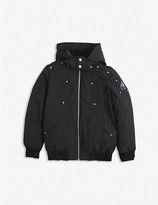 MOOSE KNUCKLES: Hooded cotton and nylon-blend bomber jacket 7-16 years