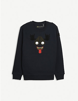 MOOSE KNUCKLES: Moose Mascot cotton jumper 7-16 years