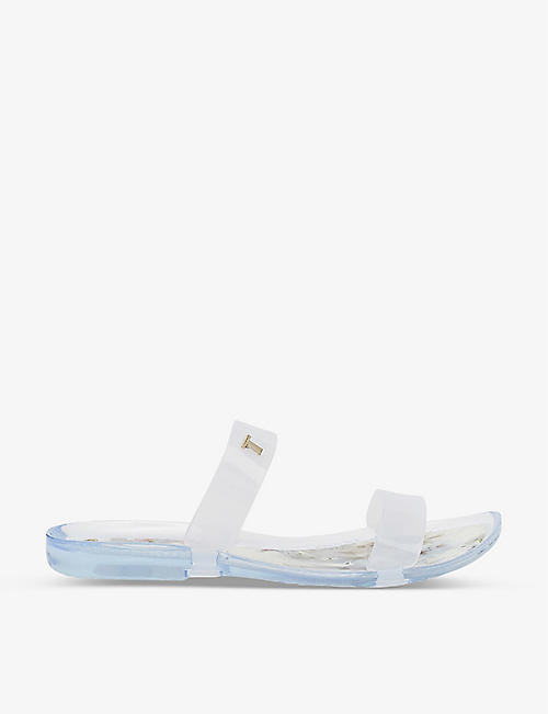 TED BAKER: Keiya floral-print two-strap jelly sandals