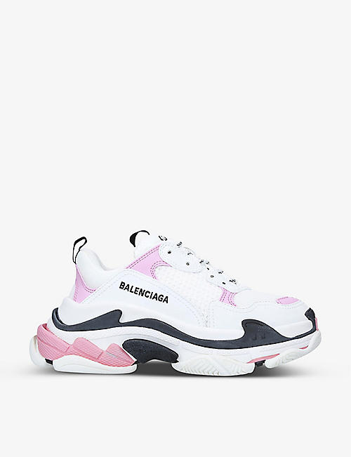 BALENCIAGA: Triple S leather and mesh trainers