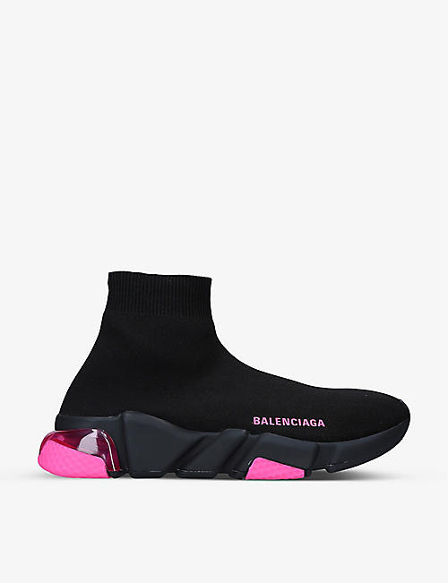 BALENCIAGA: Women's Speed clear-sole stretch-knit mid-top trainers